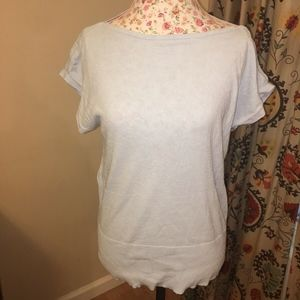 Ann Taylor Boat Neck Knit Top Light Blue
